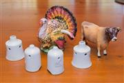 Sale 8368A - Lot 68 - A collection of four pie whistles (1 a/f) together with a small Italian ceramic turkey shaped sauce tureen and spoon, and a Beswick cow