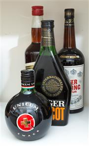 Sale 8486A - Lot 75 - 4 x bottles including; Fugger Apricot, Americano Bitter, Peter Heering Cherry Liqueur and Unicum Zwack