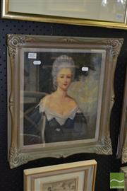 Sale 8503 - Lot 2022 - Raymond Lindsay - Portrait of Louis XVI Courtesan 33.5 x 28.5cm
