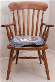Sale 8550H - Lot 156 - A vintage American pine country chair, fitted with a loose American country cushion, H94 x W65