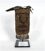 Sale 8718 - Lot 575 - Harold Porkilari (c1963 - 2003) - Untitled, 1996 wood, natural pigments and feathers