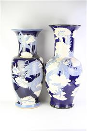 Sale 8766 - Lot 20 - A Mismatched Pair of Large Blue and White Chinese Vases with Dragon Motifs (H 81cm)
