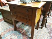 Sale 8774 - Lot 1062 - Late 19th Century Cedar Printers Table, with three drawers & on square legs with splayed feet