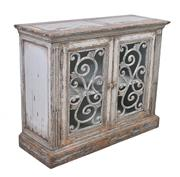 Sale 8912H - Lot 90 - A two door sideboard featuring salvaged timber with fleur de lis wrought iron in door fronts with fluted end vertical panels. Finish...