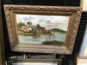 Sale 9024 - Lot 2025 - A G Thurect Riverside Cottages and Church 1902 oil on board (frame: 45 x 61cm) signed and dated lower right