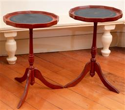 Sale 9190H - Lot 125 - A pair of tripod based occasional tables, Height 52cm x Diameter 32cm