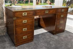 Sale 9248H - Lot 62 - An Italian campaign desk with tooled leather top height 74 x width 154 x depth 78cm