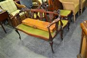 Sale 7987A - Lot 1106 - Edwardian Carved Maple Salon Suite inc 2 Seater Settee, 2 Side Chairs & Corner Chair w Green Upholstery