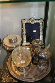Sale 8269 - Lot 84 - Silver Plated Frame with Other Plated Wares incl Tray