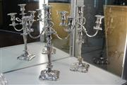 Sale 8276 - Lot 20 - Silver Plated Pair of Candelabra (1 AF)