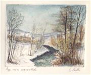 Sale 8485A - Lot 5006 - Guido Botta (1921 - ) - Untitled (Winterscape) 14 x 15cm