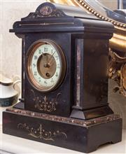 Sale 8649A - Lot 12 - A Belgian slate mantle clock of architechtural form, with key, height 32cm