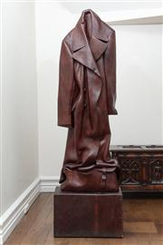 Sale 8838H - Lot 19 - Livio De Marchi, A Carved Wood Overcoat, raised on a carved wooden plinth. Height of Overcoat 143cm, Height overall 178cm