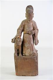 Sale 8913 - Lot 28 - Early Wood Carving Of Chinese Scholar With Dog H: 25cm