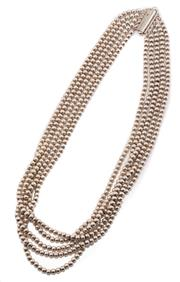 Sale 8965 - Lot 318 - A SILVER MULTISTRAND NECKLACE; 5 strands threaded with silver beads to slide clasp, length 45cm, wt. 53.54g.