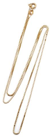 Sale 9090J - Lot 315 - AN 18CT GOLD BOX CHAIN; with bolt ring clasp, length 53cm, wt. 3.23g.