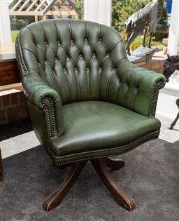 Sale 9248H - Lot 63 - A green leather office chair height of back 94cm x width 70cm