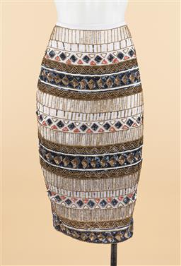 Sale 9250F - Lot 72 - A hand beaded pencil skirt by South of the Border, size L.