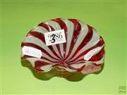 Sale 8250 - Lot 33 - A Murano Glass Footed Bowl , c 1930, modelled in small proportions , in freeform with red and white canes