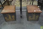 Sale 8289 - Lot 1030 - Brass Coal Boxes and Fire Screen