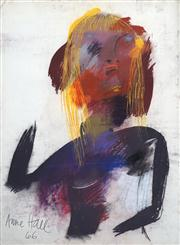 Sale 8410A - Lot 5053 - Anne Hall (1945 - ) - Untitled, 1966 (Abstract Figure with Blonde Hair) 76.5 x 56cm (sheet size)