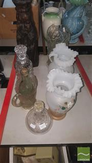 Sale 8422 - Lot 71 - Crystal Decanter with Other Crystal & Glass incl. Milk Glass Pair of Vases