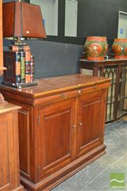 Sale 8431 - Lot 1014 - Sideboard w 2 Doors & Drawers w Attached Book Form Lamp
