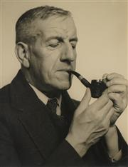 Sale 8592A - Lot 5053 - Max Dupain (1911 - 1992) - Portrait of a Man with Pipe 29.5 x 23.5cm