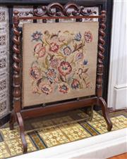 Sale 8649A - Lot 21 - A rosewood and tapestry fire screen with barley twist supports, H 85 x W 64cm