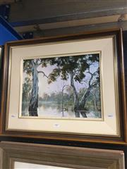 Sale 8690 - Lot 2007 - R Wellington - Gumtrees Along the River, 2000, oil on canvas on board, 50 x 60cm (frame size), signed and dated lower right