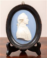 Sale 8804A - Lot 58 - A probably Wedgwood jasperware plaque of Captain Cook, plaque is 10.5cm