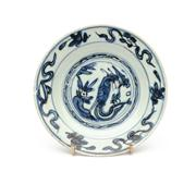 Sale 8844 - Lot 63 - A C17th Chinese blue and white saucer dish. Diameter 15cm  (fritting and rim chip)