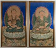 Sale 8882H - Lot 94 - Two large Chinese framed paintings of lamas on lotus thrones with flaming aura, one holding a lotus, the other a flaming pearl, 157c...