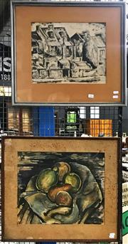 Sale 8945 - Lot 2085 - Artist Unknown (2 works) Sydney Street Scene, 1948ink ; Still Life 1945 watercolour (frame sizes: 52 x 58cm; 51 x 56cm), each sig...