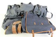 Sale 8952M - Lot 700 - Vintage German Blue Canvas And Leather Backpacks With Two Blue Canvas Ammo Bags