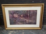 Sale 8961 - Lot 2074 - After Frederick McCubbin Violet and Gold decorative print ed. 55/1500, 80 x 114cm (frame), signed by John McCubbin (printed for Ce...