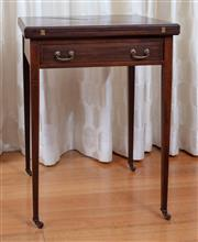 Sale 9005H - Lot 42 - An Edwardian mahogany envelope top card table with single drawer and slender tapering legs to castors, Height 75cm x Width 56cm x De...