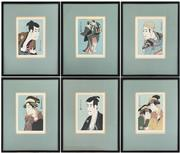 Sale 9031H - Lot 16 - Japanese Kabuki Wood Block Prints, Full Original Set, SHARAKU, with Explanation, all 6 pieces framed in Black Lacquer H 37cm x W 29c...