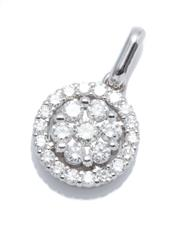 Sale 9029 - Lot 394 - AN 18CT WHITE GOLD DIAMOND CLUSTER PENDANT; centring a cluster of 7 round brilliant cut diamonds within a halo of 16 further  brilli...