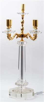 Sale 9083N - Lot 60 - An impressive glass and gilt metal four branch candelabrum. height 84cm
