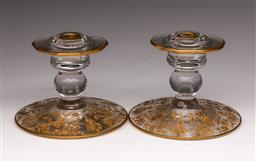 Sale 9098 - Lot 87 - A Pair Of Glass Candlestick With Gilt Highlights H: 10cm