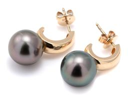 Sale 9124 - Lot 413 - A PAIR OF TAHITIAN PEARL EARRINGS; 11mm round cultured pearls of fine colour and very good lustre to 9ct gold half hoop stud fitting...