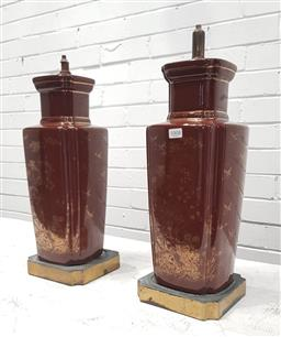 Sale 9112 - Lot 1008 - Pair of glazed Oriental vase lamp bases - no fittings