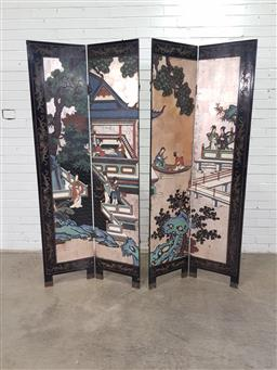 Sale 9162 - Lot 1064 - Chinese Carved & Polychrome Lacquer Screen, of four panels, forming a water side scene with pagoda, within a black frame (h:183 x w:...