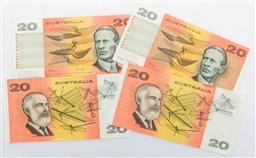 Sale 9164 - Lot 282 - A set of four unc $20 notes with consecutive (167392-167395)