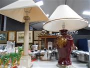 Sale 7932A - Lot 1187 - Red Ceramic Lamp Base & a Column Form Lamp Base    ---BUDDHA TO BE RETURNED