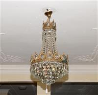 Sale 8171A - Lot 6 - A vintage French bronze and crystal basket shaped chandelier
