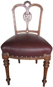 Sale 8258A - Lot 55 - Set of four walnut parlour dining chairs in the Sheraton style. Nice quality. Newly reupholstered in burgundy leather, fully sprung,...