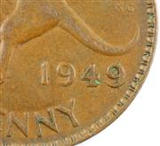Sale 8299C - Lot 557 - KING GEORGE VI PENNY VARIETIES 1948 & 1949; 1948 = 1 x double struck 4 in date, 2 x foot of 4 leans left, 1949 =  1 x doubling of da...