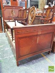 Sale 8402 - Lot 1071 - Sheraton Style Satinwood and Painted Bed with Distressed and Painted Finish